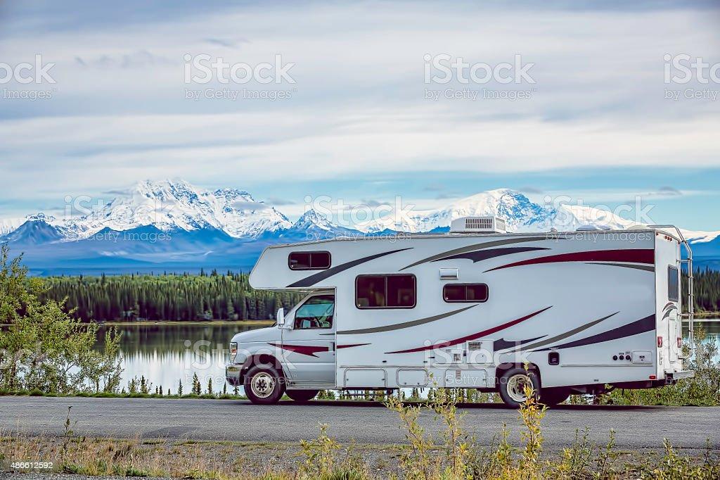 RV Alaska Lake stock photo