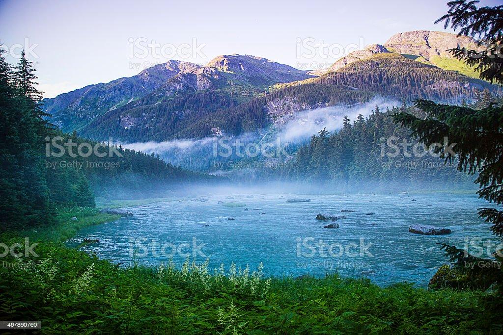 Alaska Mountain View - Chilcoot River, Haines, AK stock photo