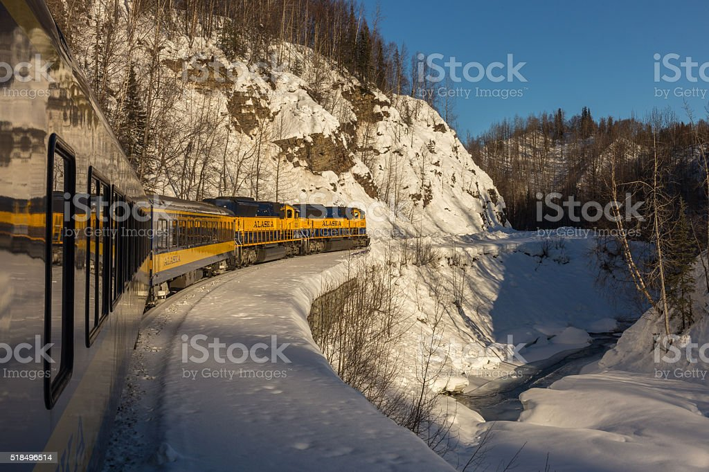 Alaska Railroad 'Aurora Train' stock photo