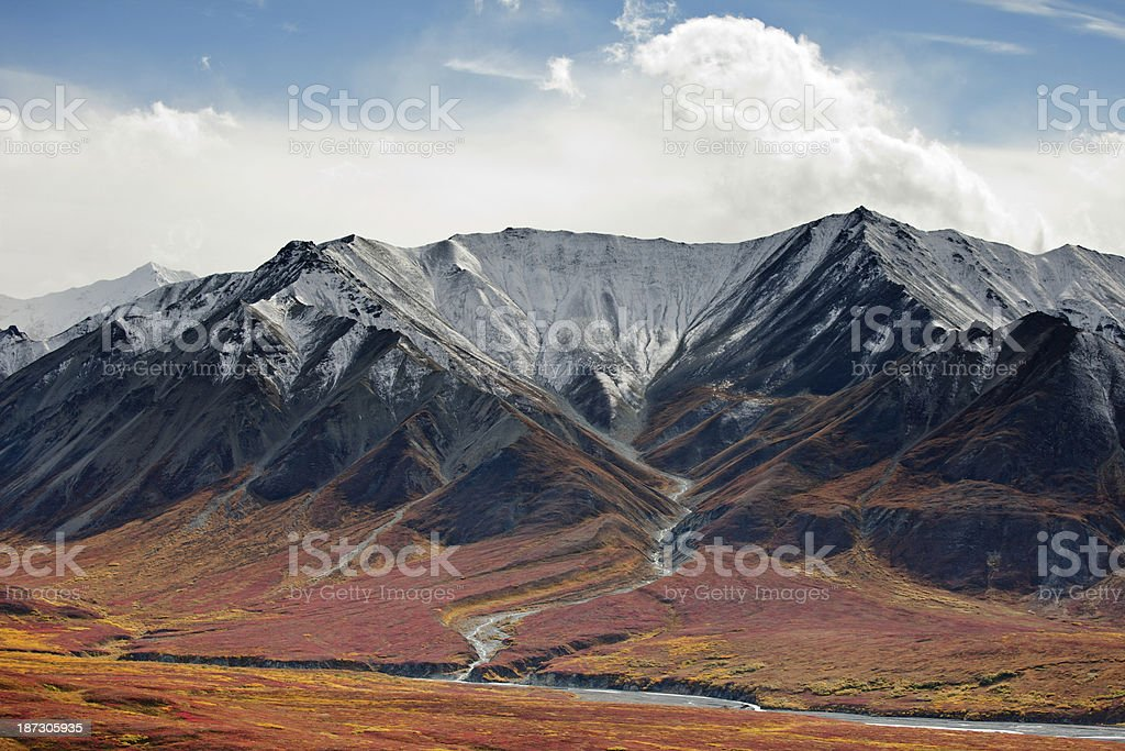 Alaska Range at mile 66 of Denali National Park road royalty-free stock photo