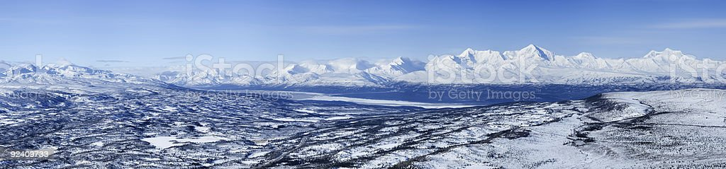 Alaska Range in spring, panoramic royalty-free stock photo