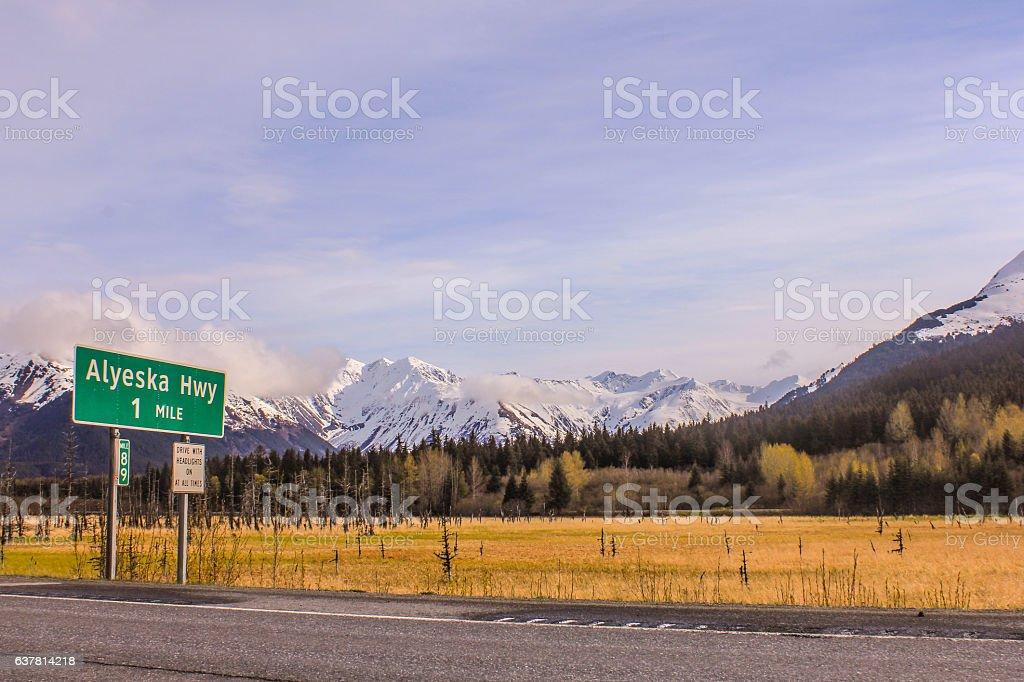 Alaska road travels on Alyeska Hwy stock photo