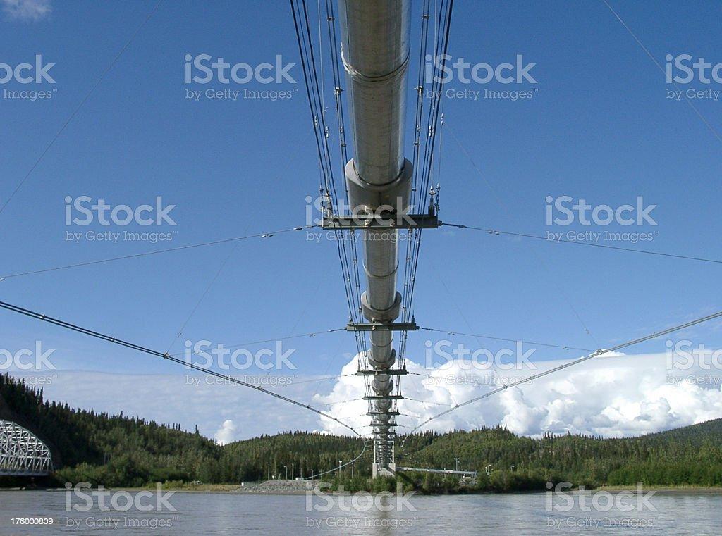 Alaska trans alaskan oil pipeline crossing a river stock photo
