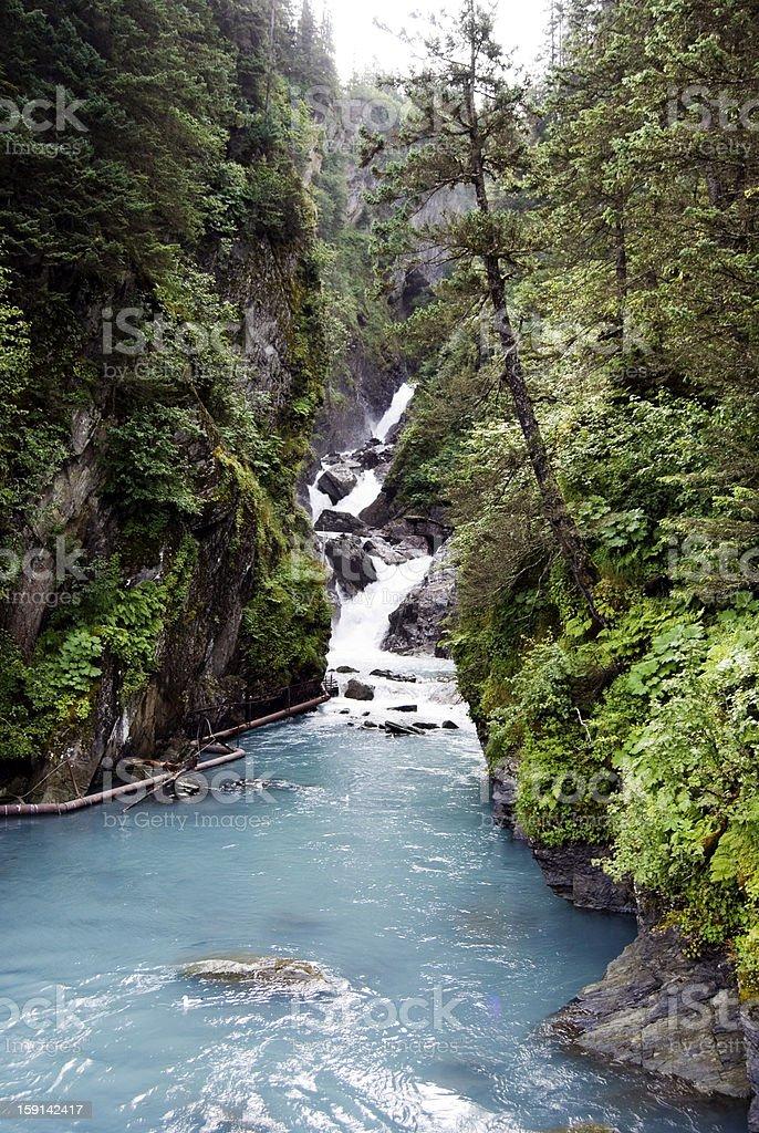 Alaska waterfall and gorge stock photo