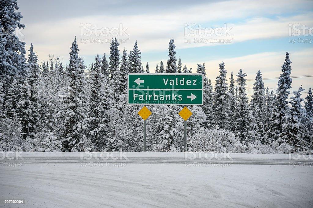 Alaska Winter Directional Highway Sign Toward Fairbanks and Valdez stock photo