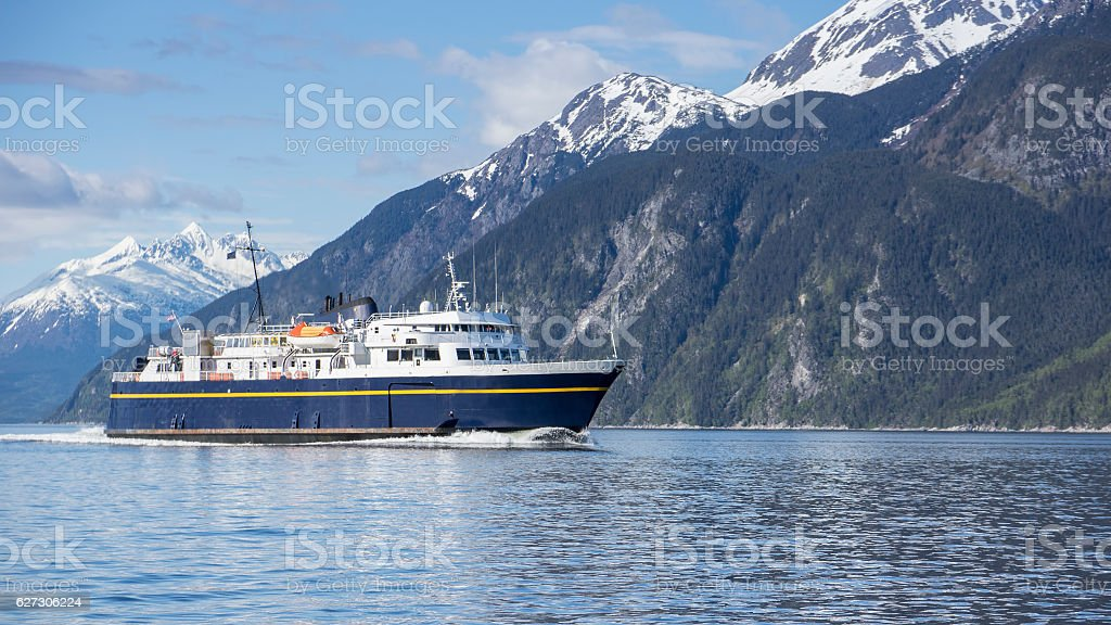 Alaskan ferry in summer stock photo