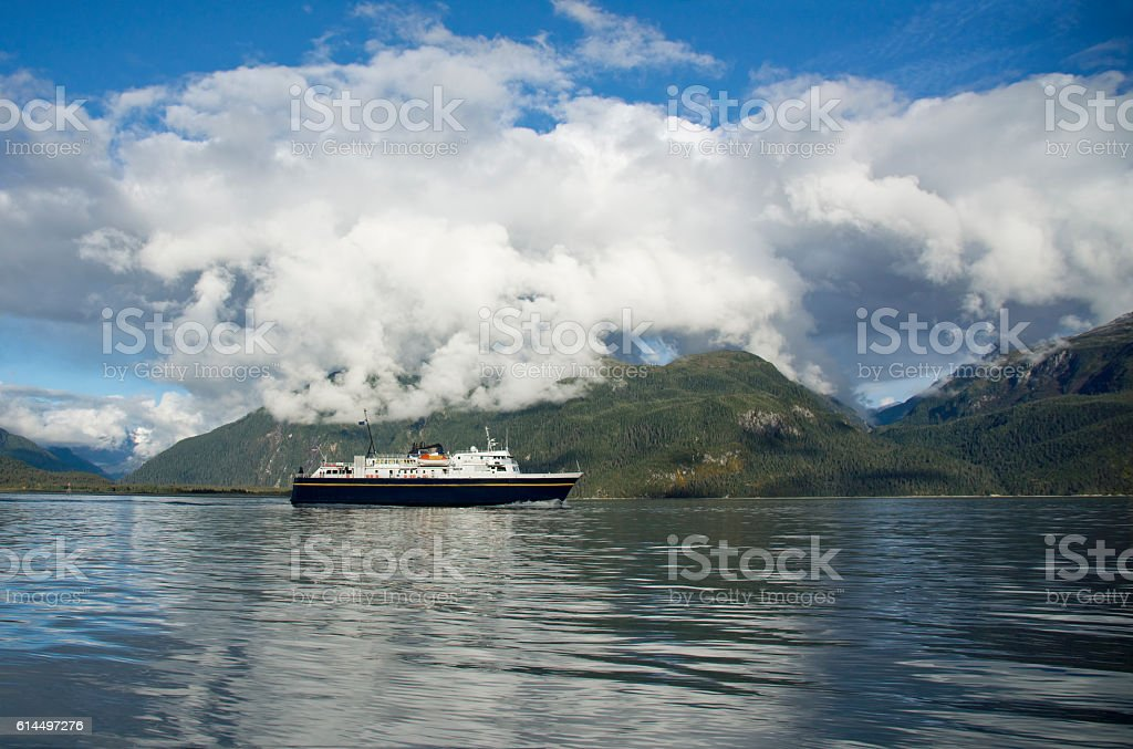 Alaskan ferry in the Lynn Canal stock photo