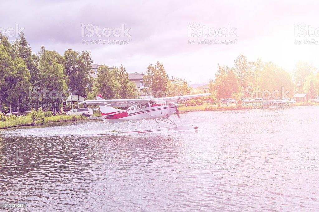 Alaskan floatplane stock photo