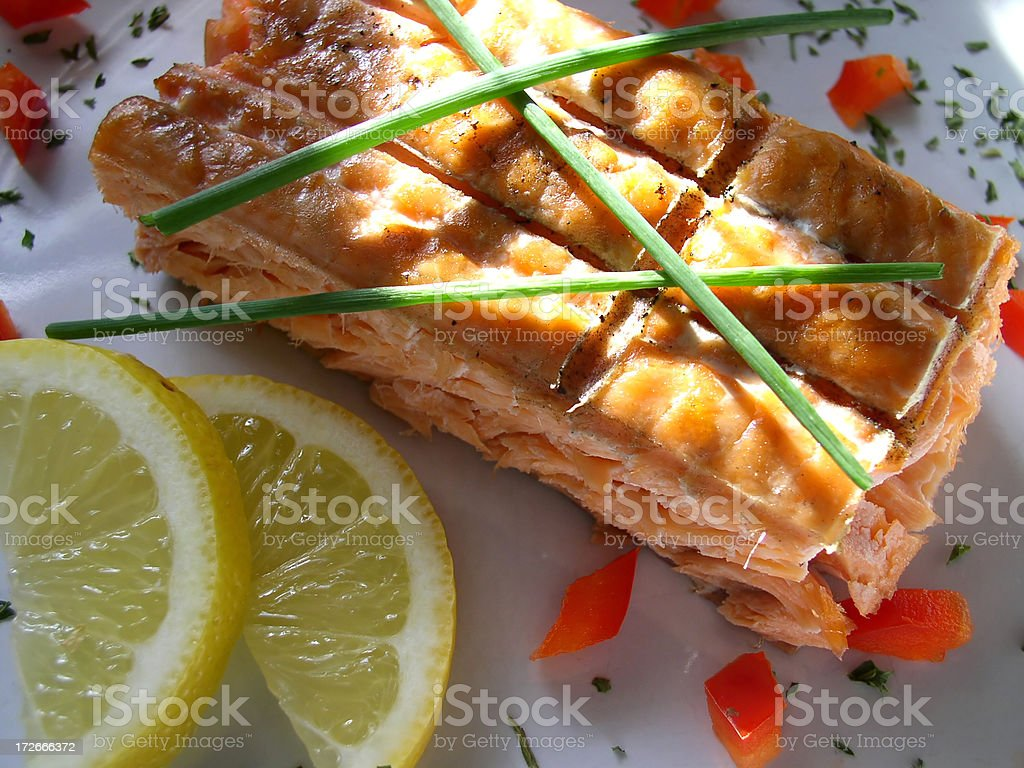 Alaskan Grilled Salmon (Part 1) royalty-free stock photo