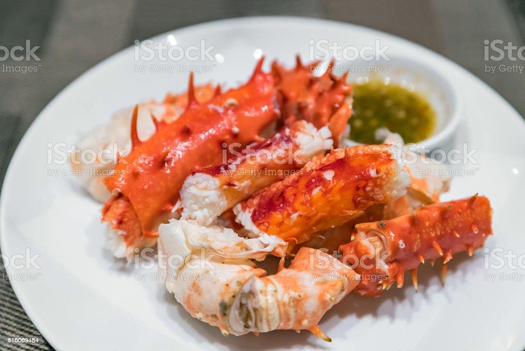 alaskan king crab meat stock photo