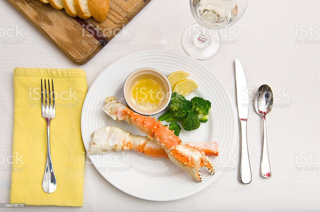 Alaskan King Crab Seafood Dinner royalty-free stock photo