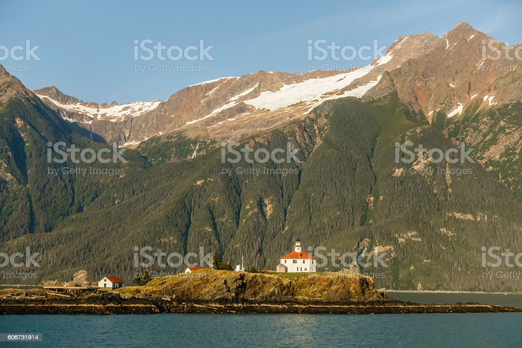 Alaskan lighthouse in the U.S. National Register of Historic Places stock photo