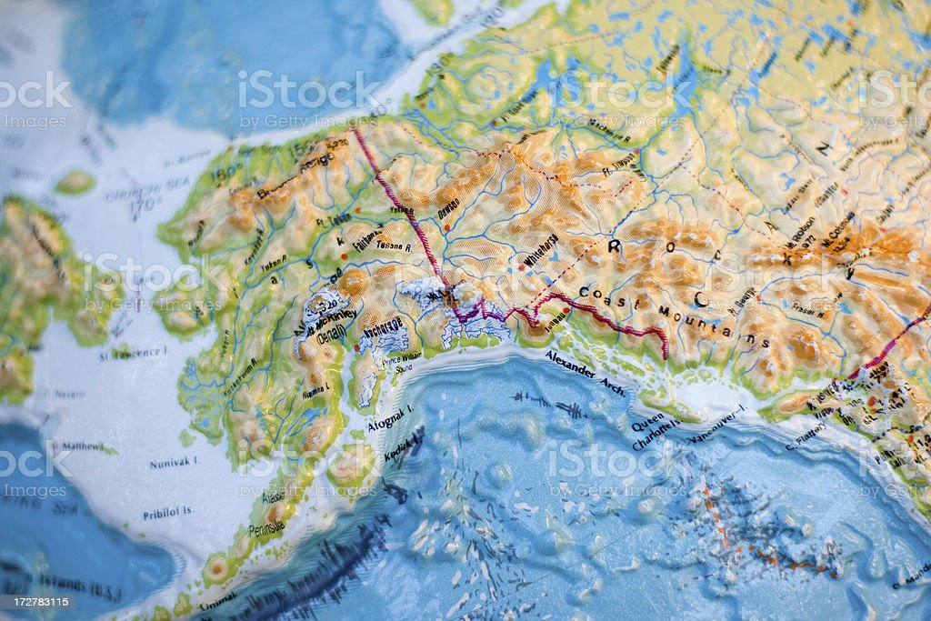 Alaskan Relief Map royalty-free stock photo