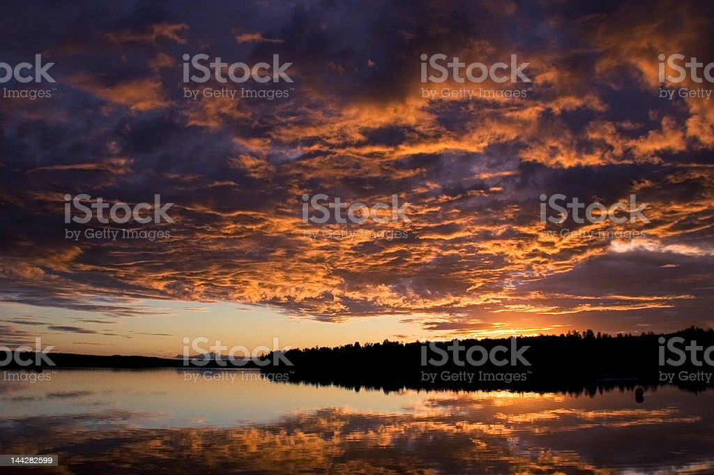 Alaskan Sunset on the Lake stock photo
