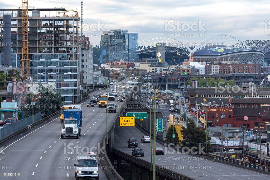 Alaskan Way Viaduct in Seattle stock photo