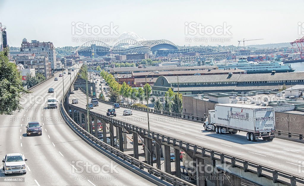 Alaskan Way Viaduct - Seattle stock photo