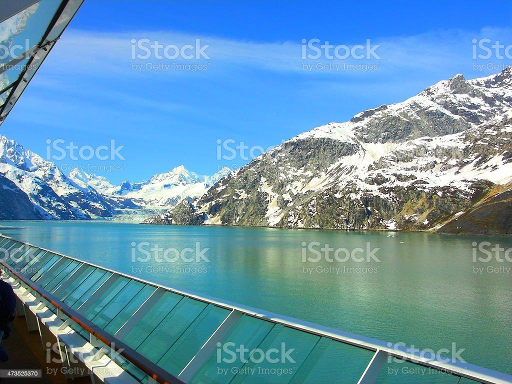 Alaska's Vast Mountainous Scenic Shores Seen From Cruise Ship Deck stock photo