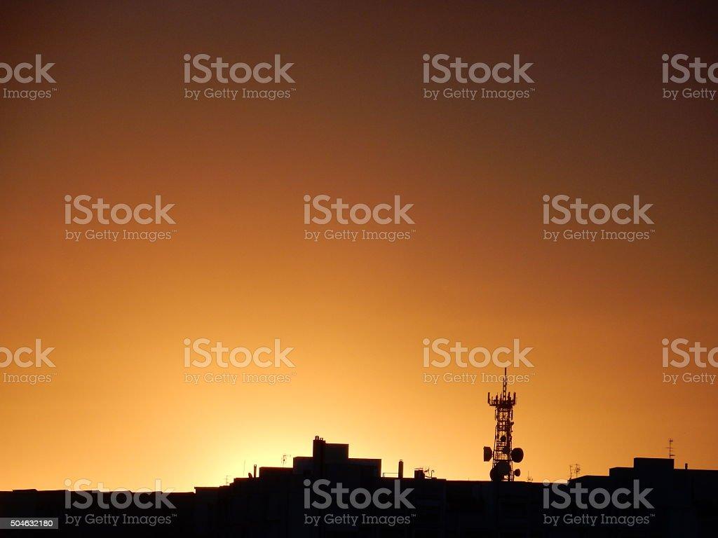 Alba sulla città stock photo