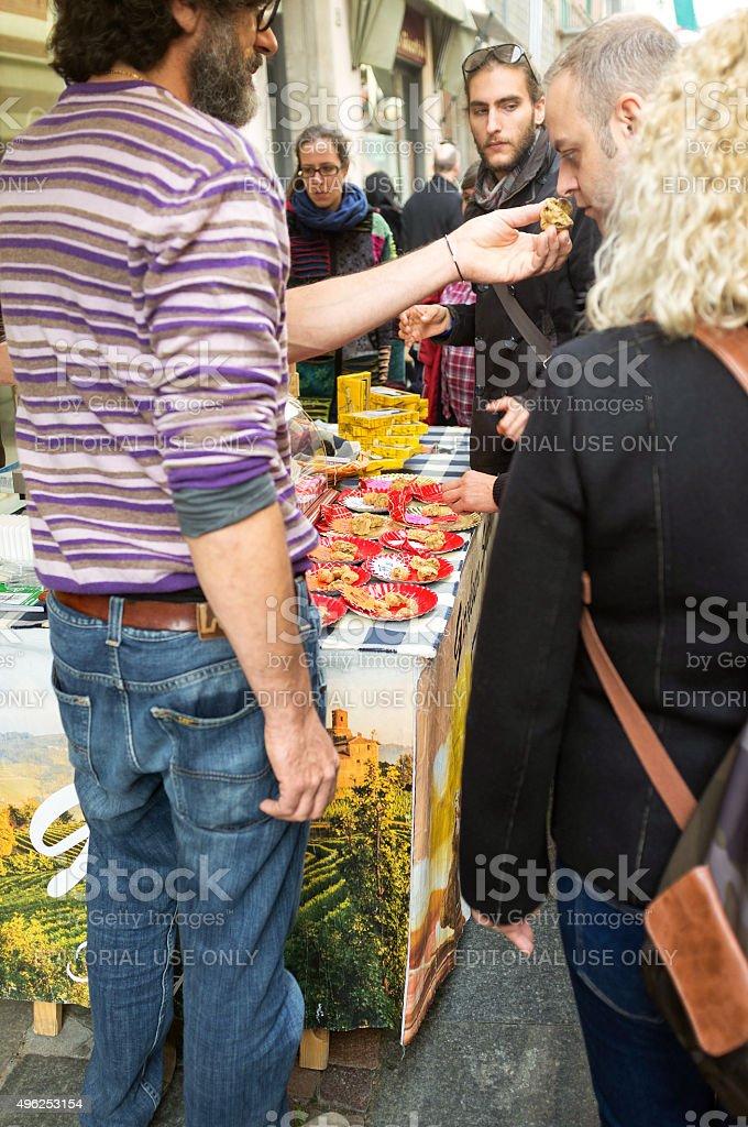 Alba (Cuneo), the truffles market. Color image stock photo