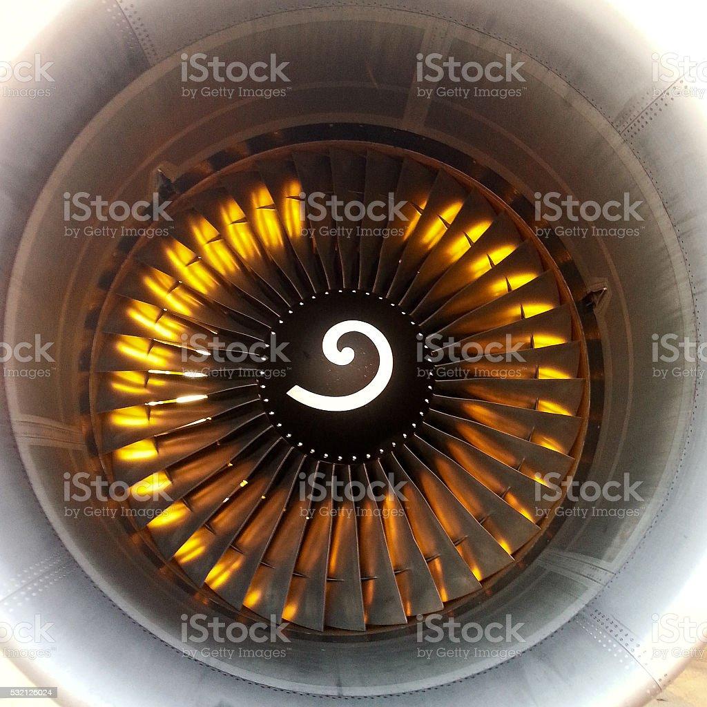 Alba vista da un motore stock photo