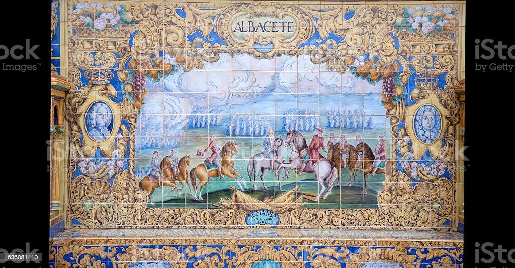 Albacete, Plaza de Espana; Seville stock photo