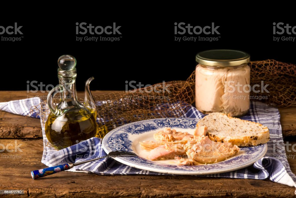 Albacore canned in glass jar. stock photo