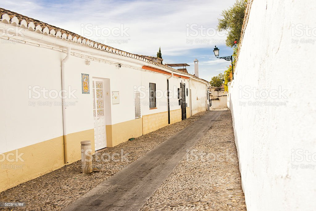 Albaicin street in Granada stock photo