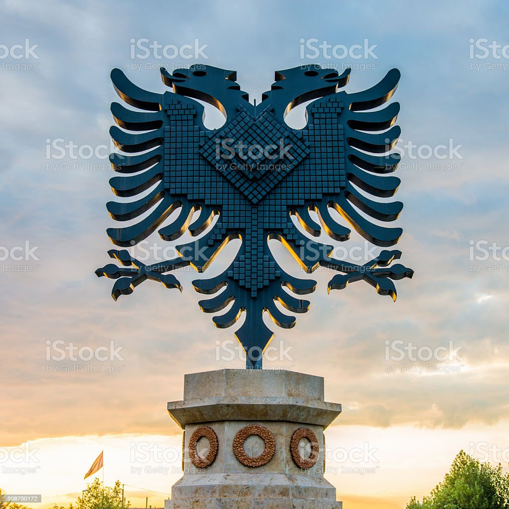 Albania Coat of Arms Albanian Symbol Sunset Tirana City stock photo