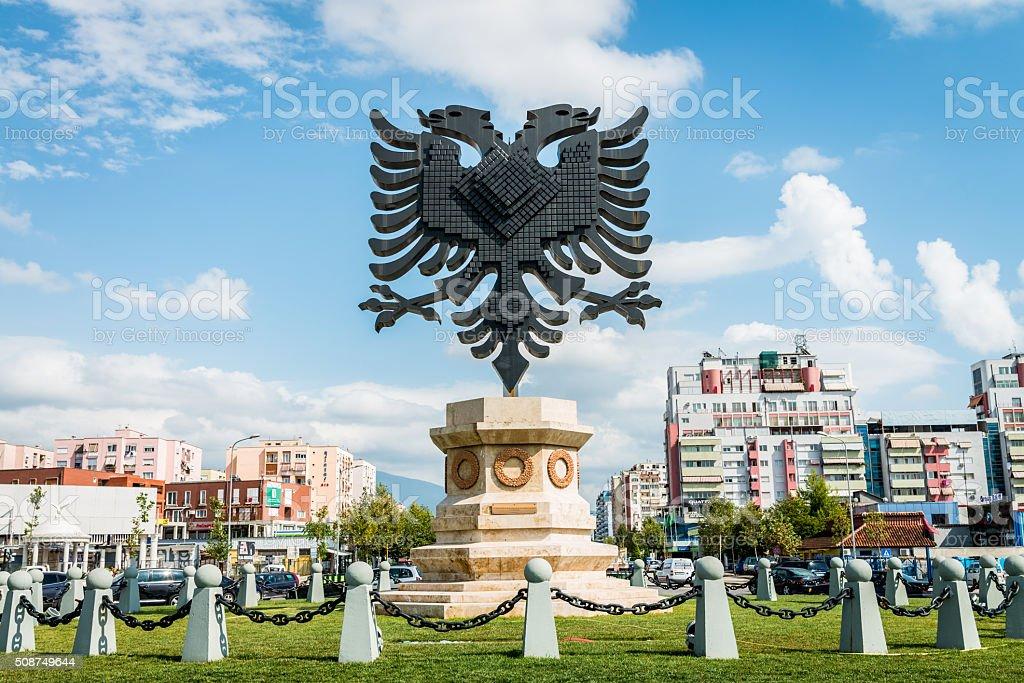 Albania Coat of Arms Emblem Tirana City stock photo