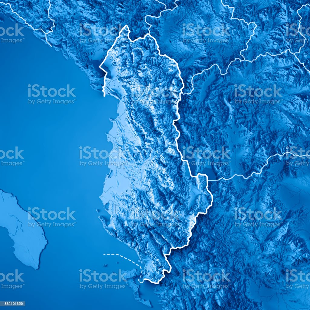Albania Country 3D Render Topographic Map Blue Border stock photo