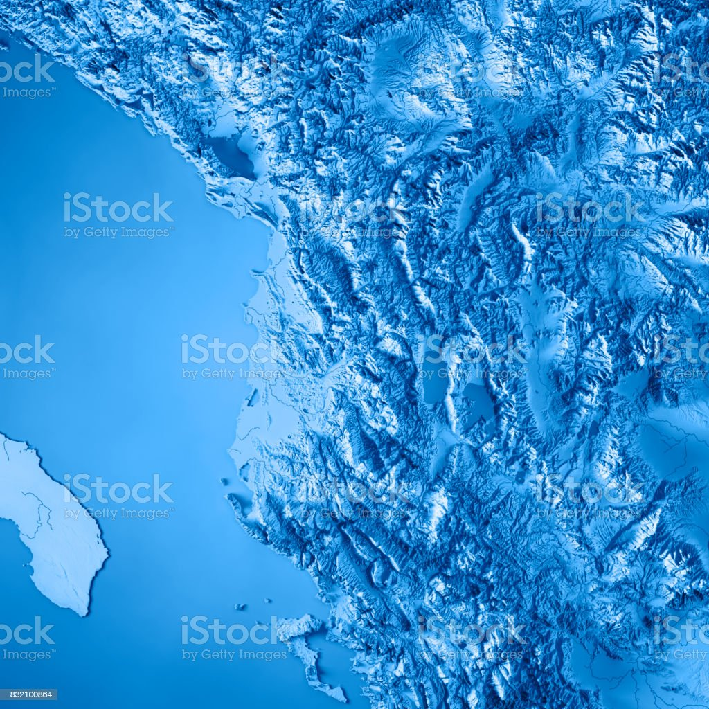 Albania Country 3D Render Topographic Map Blue stock photo