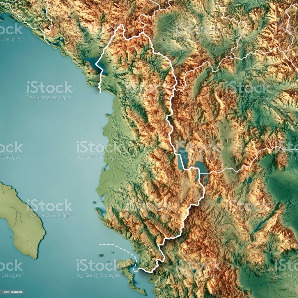 Albania Country 3D Render Topographic Map Border stock photo