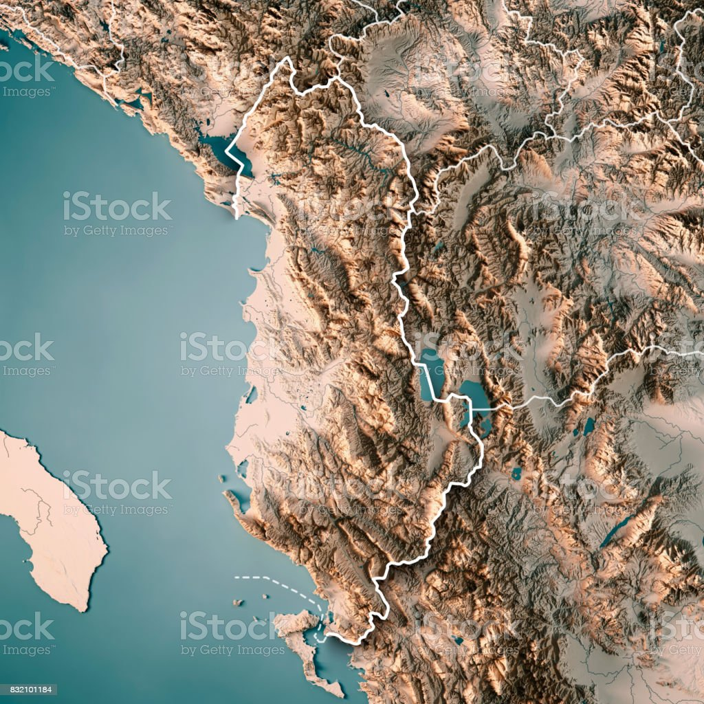 Albania Country 3D Render Topographic Map Neutral Border stock photo