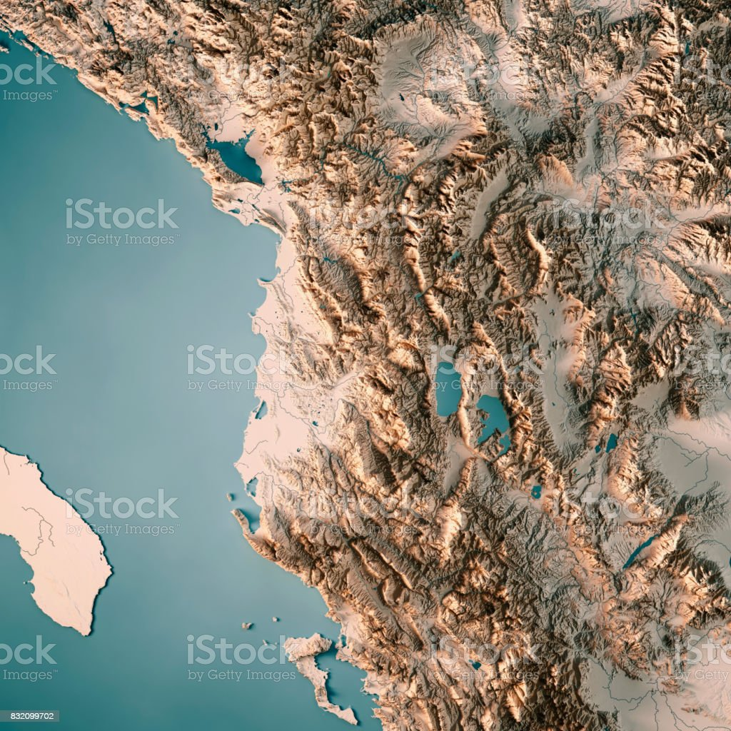 Albania Country 3D Render Topographic Map Neutral stock photo