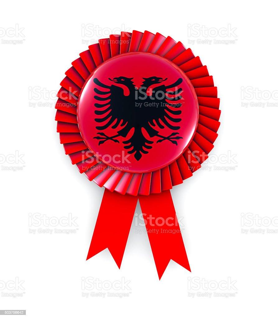 Albania Flag on Cockade stock photo
