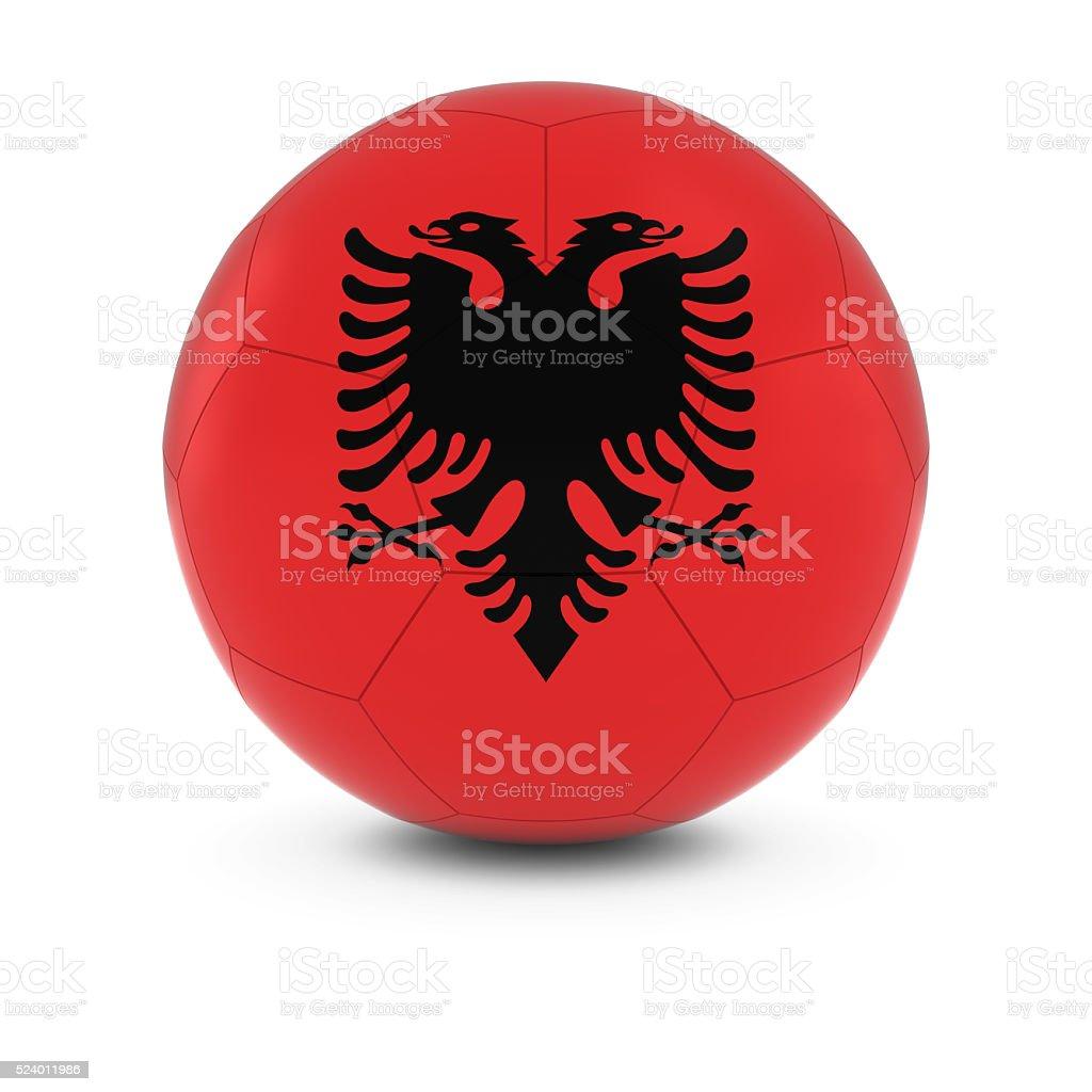 Albania Football - Albanian Flag on Soccer Ball stock photo