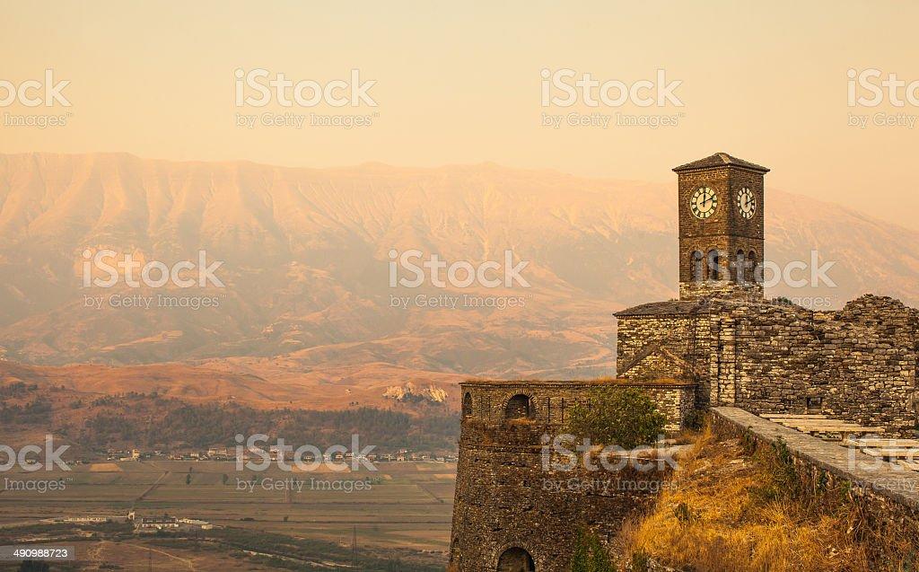 Albania, Gjirokastër Citadel, Church Clock Tower stock photo