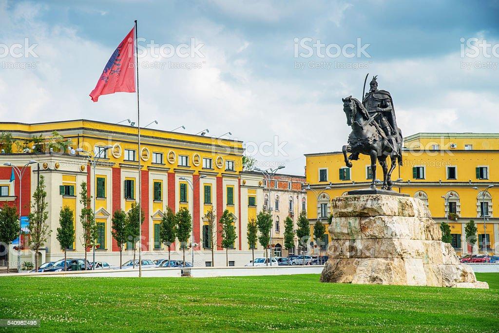 Albania Skanderbeg Square Tirana stock photo