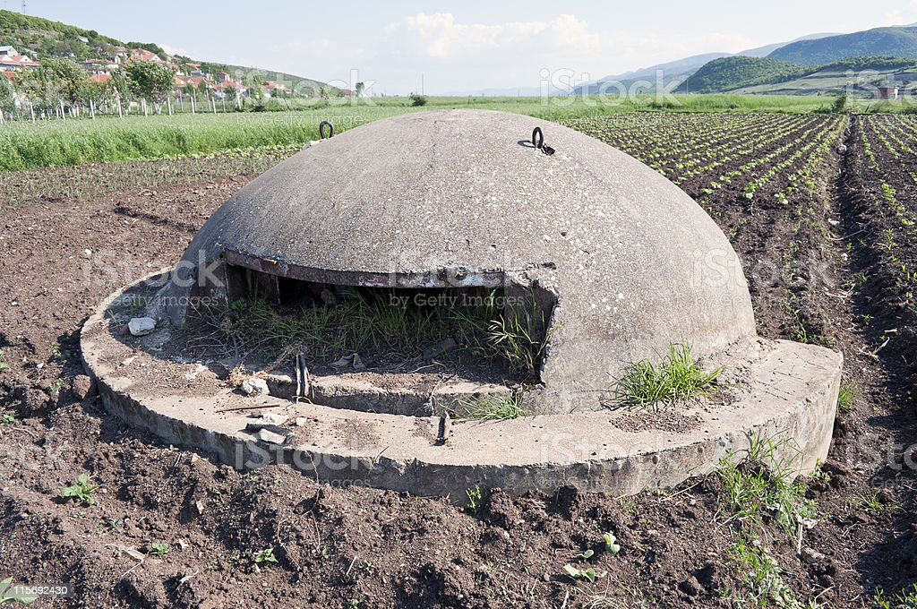 Albanian Bunker in the Field royalty-free stock photo