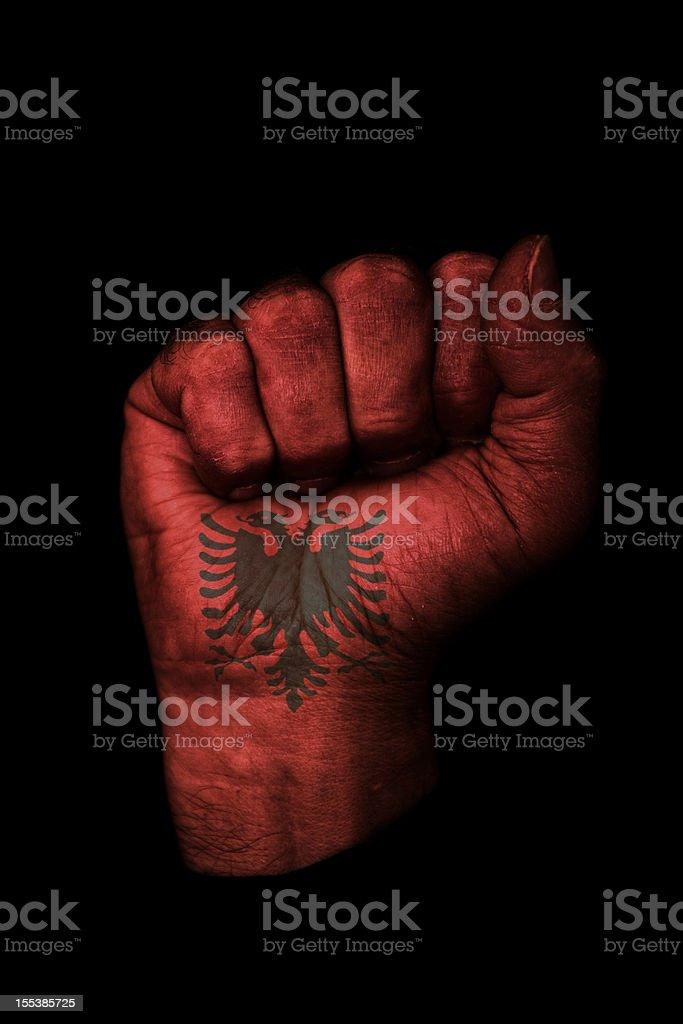 Albanian Fist Flag stock photo