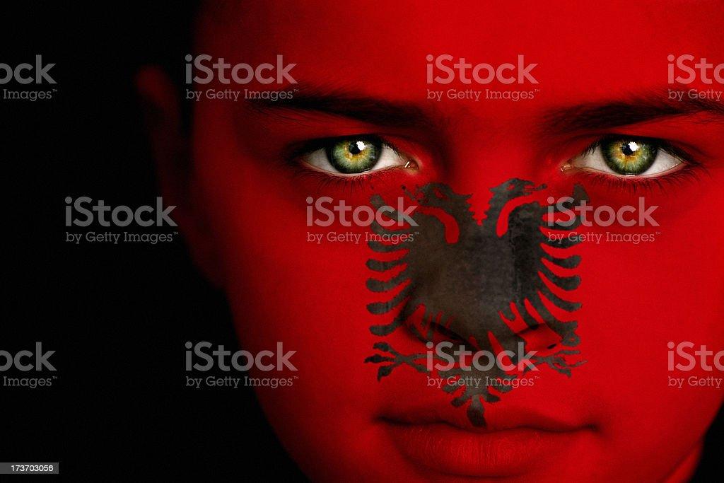 Albanian flag boy stock photo