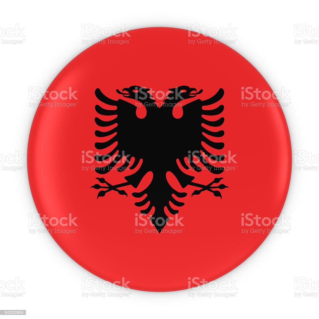 Albanian Flag Button - Flag of Albania Badge 3D Illustration stock photo