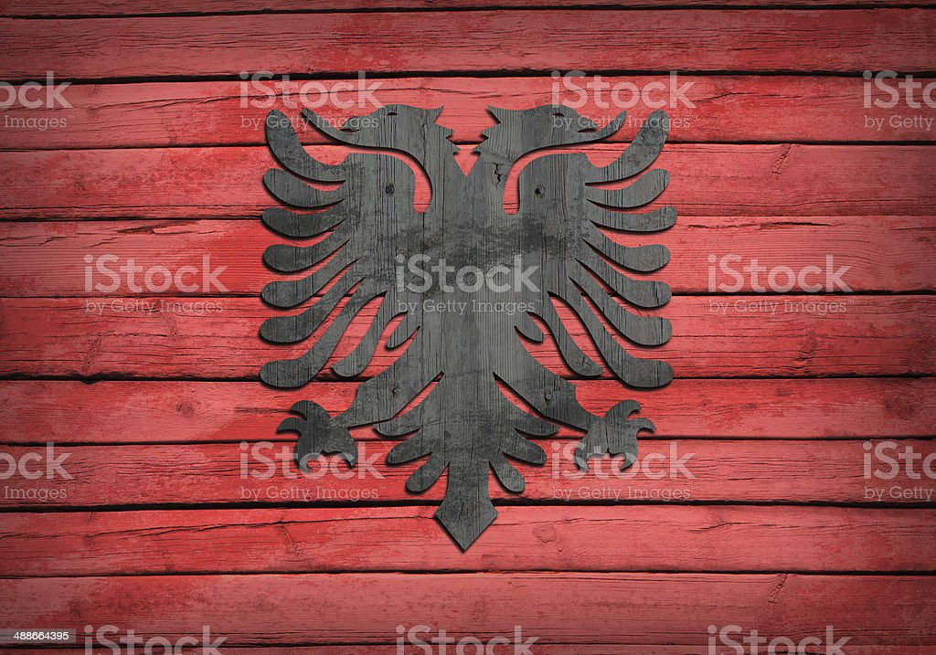 Albanian flag painted on wooden boards royalty-free stock photo