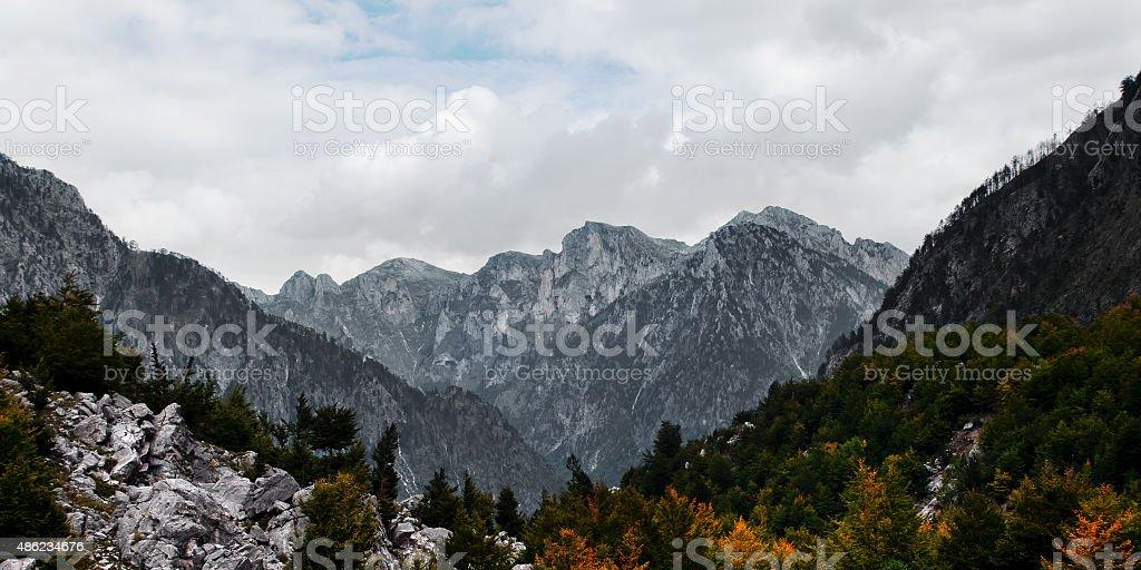Albanian high mountain range North alps Tropoja Valbona valley stock photo