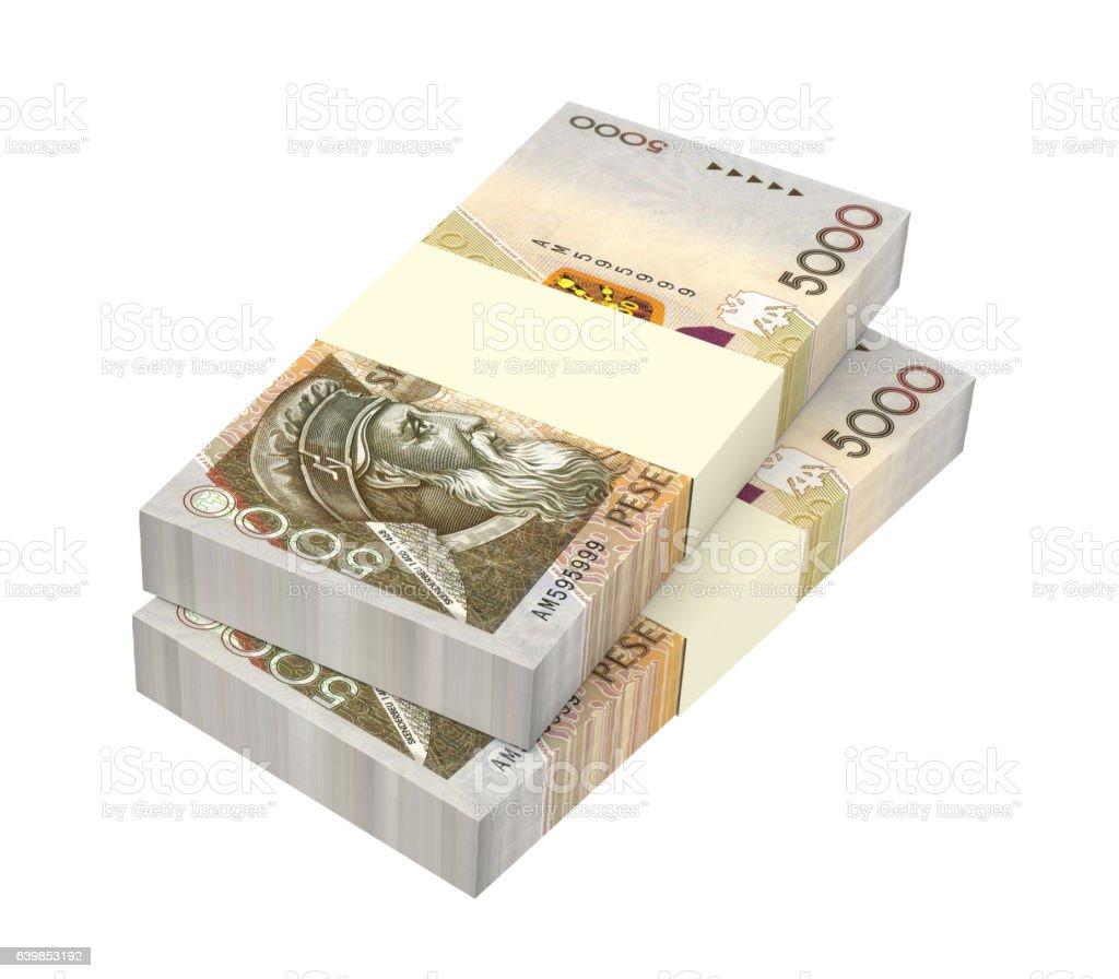 Albanian lek money isolated on white background. stock photo