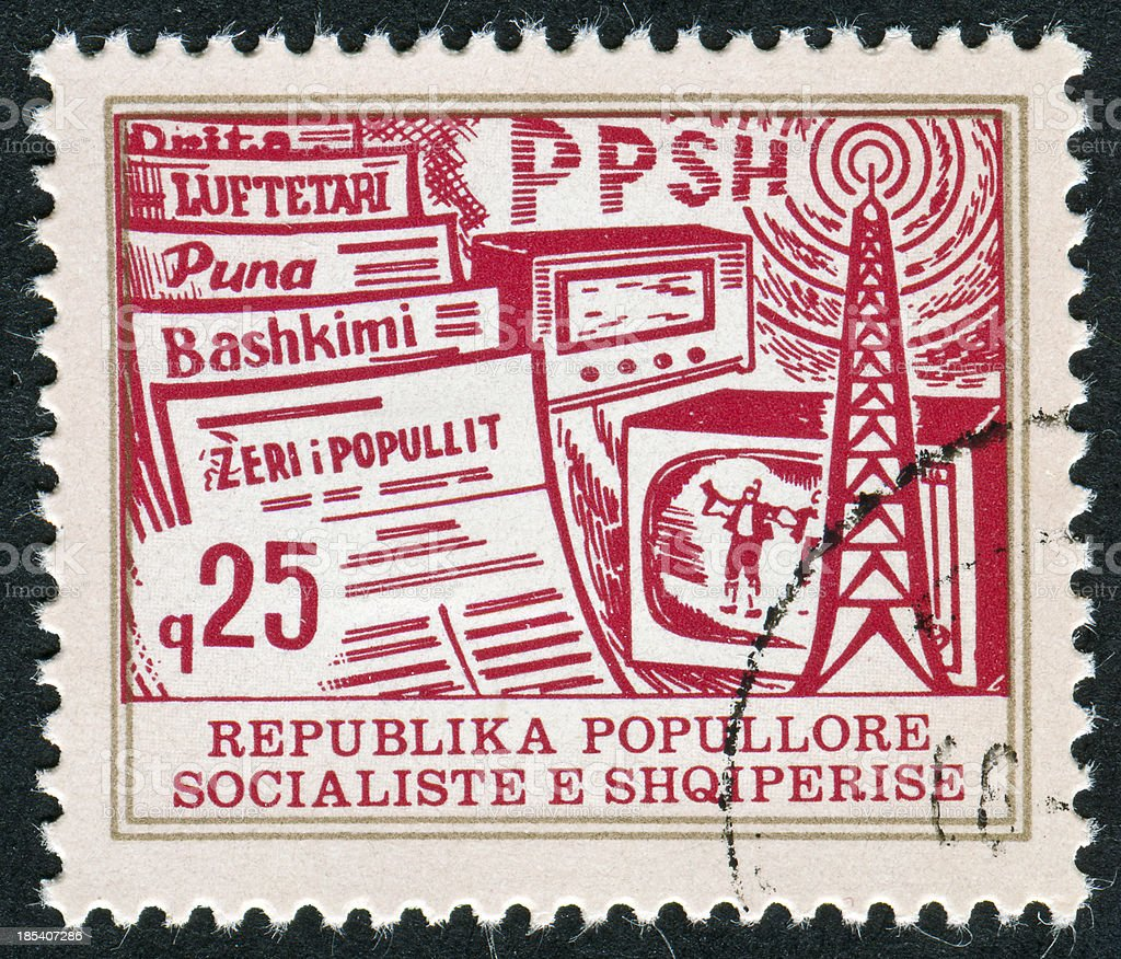 Albanian Media Stamp royalty-free stock photo