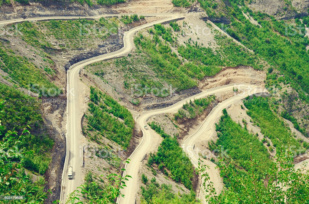 Albanian mountain road to Lepushe stock photo