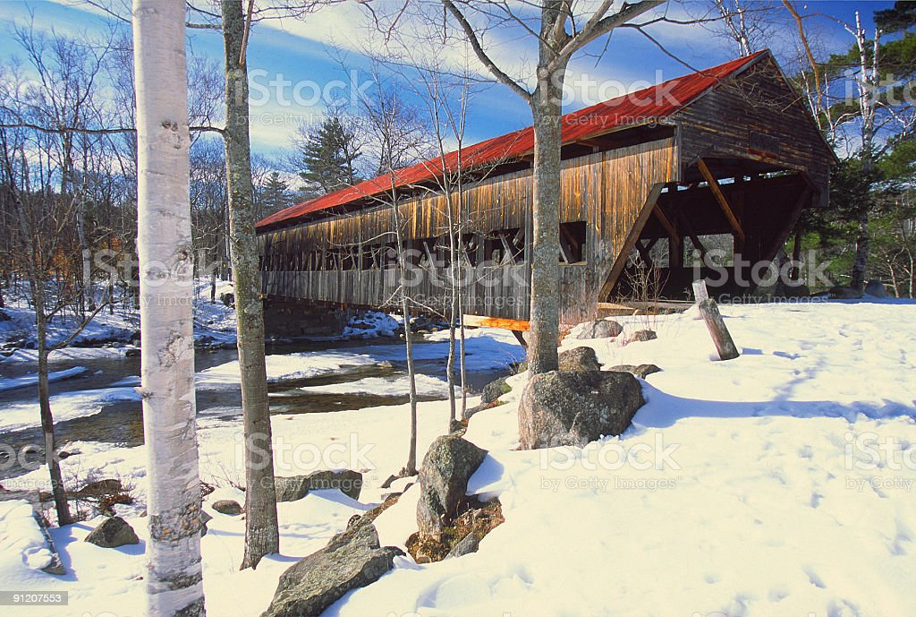 Albany Covered Bridge in New Hampshire royalty-free stock photo