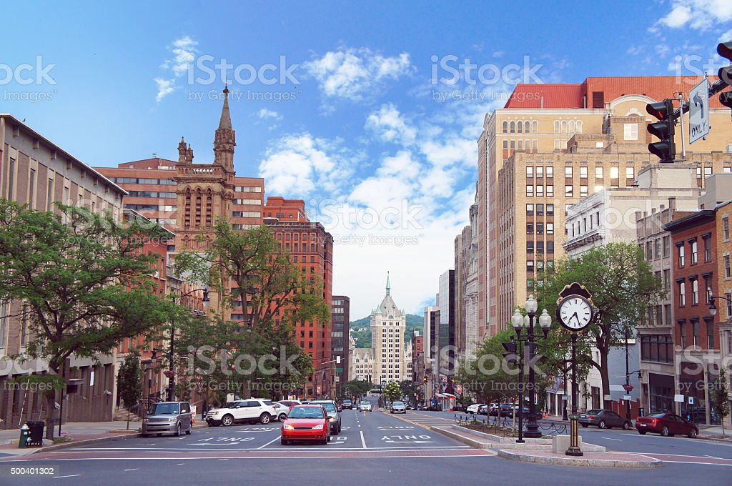 Albany, New York state capital, street view stock photo