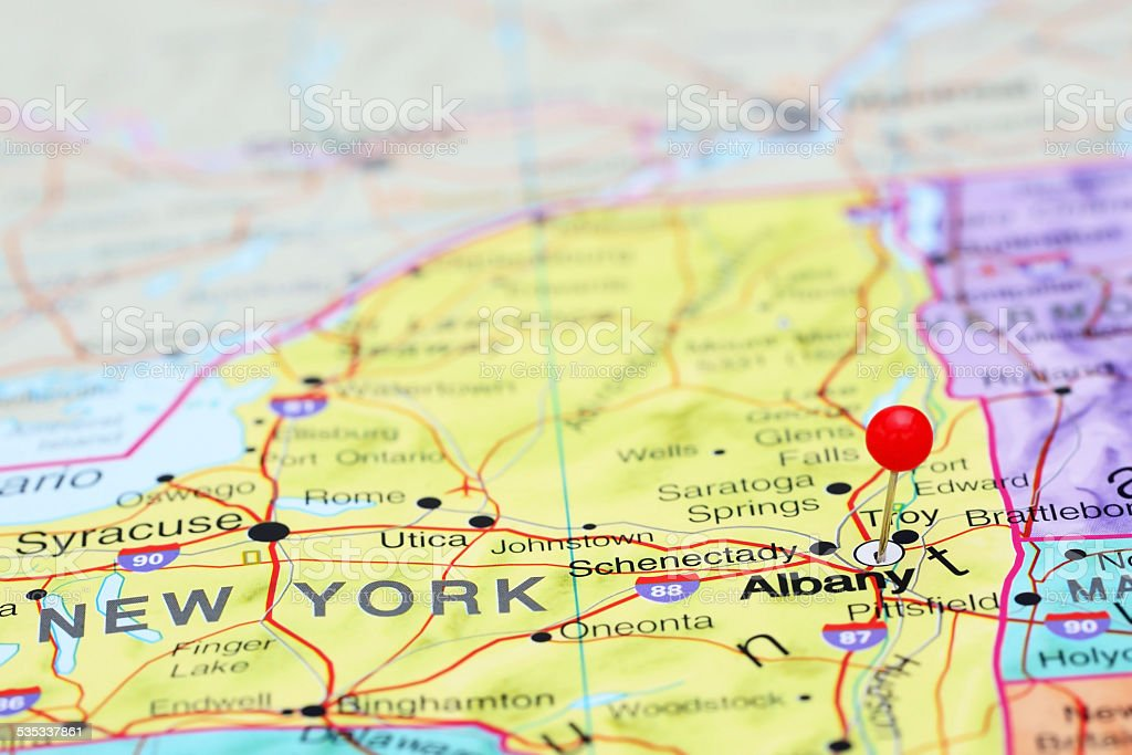 Albany pinned on a map of USA stock photo